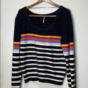 Free People Sweaters - Free People Black Complete Me Stripe alpaca blend